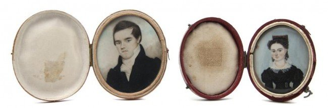 596: Two American Mourning Portrait Miniatures on Ivory