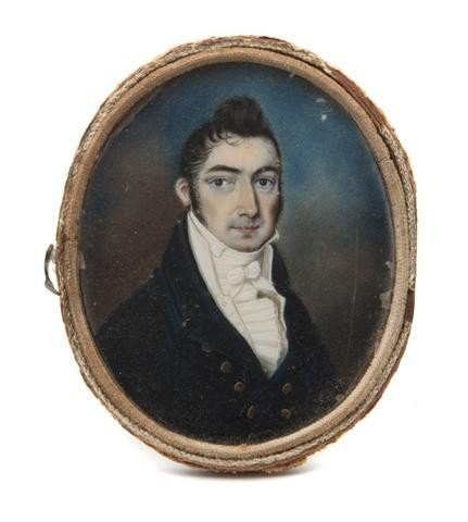 597: An American Mourning Portrait Miniature on Ivory,
