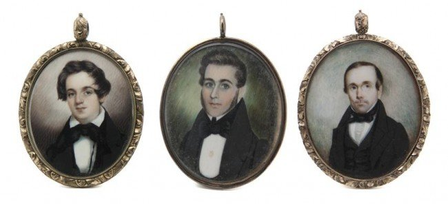 598: Three American Mourning Portrait Miniatures on Ivo