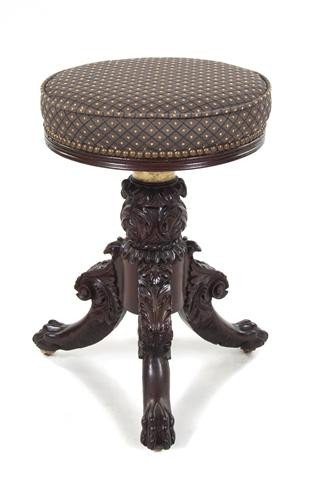 599: An American Carved Mahogany Piano Stool, Height 21