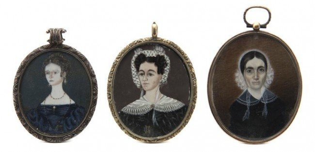 600: Three American Mourning Portrait Miniatures on Ivo