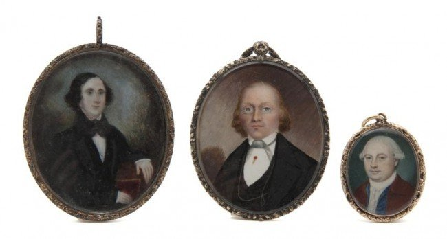 601: Three American Mourning Portrait Miniatures on Ivo