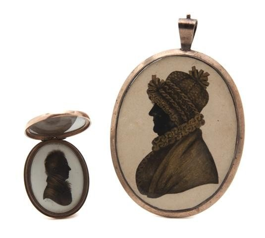 603: An American Mourning Silhouette Miniature on Ivory