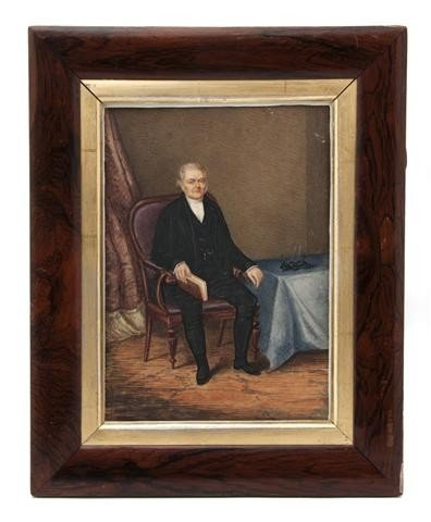 608: A Watercolor Portrait Miniature of a Gentleman, T.