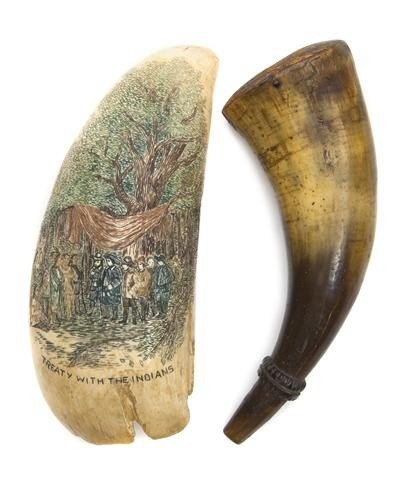 611: A Scrimshaw Whale Tooth, Width of first 6 1/2 inch