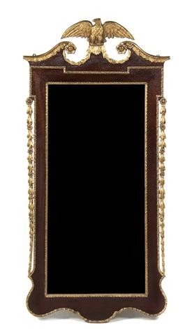 612: A Federal Style Mahogany and Giltwood Mirror, Heig