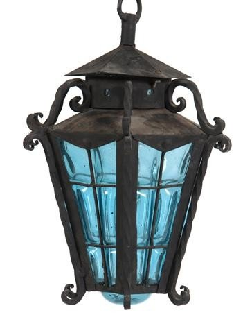 613: An American Cast Iron and Blown Out Glass Lantern,