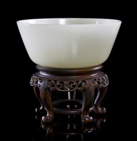 16: A White Jade Bowl, Diameter 5 1/2 inches.