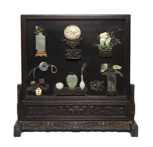 49: A Chinese Jade, Hardstone and Hardwood Table Screen