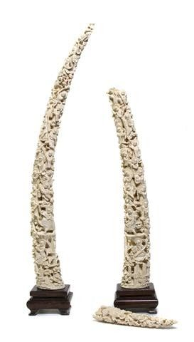 A Pair of Chinese Carved Ivory Tusks, Length 30 1/