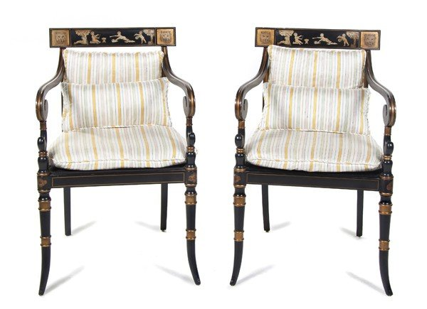 1: A Pair of Regency Style Lacquered and Parcel Gilt Ar