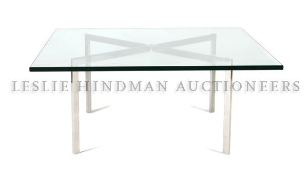4: A Barcelona Low Table, Knoll, after a design by Mies