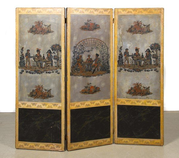 9: A Continental Three Panel Floor Screen, Height 54 1/