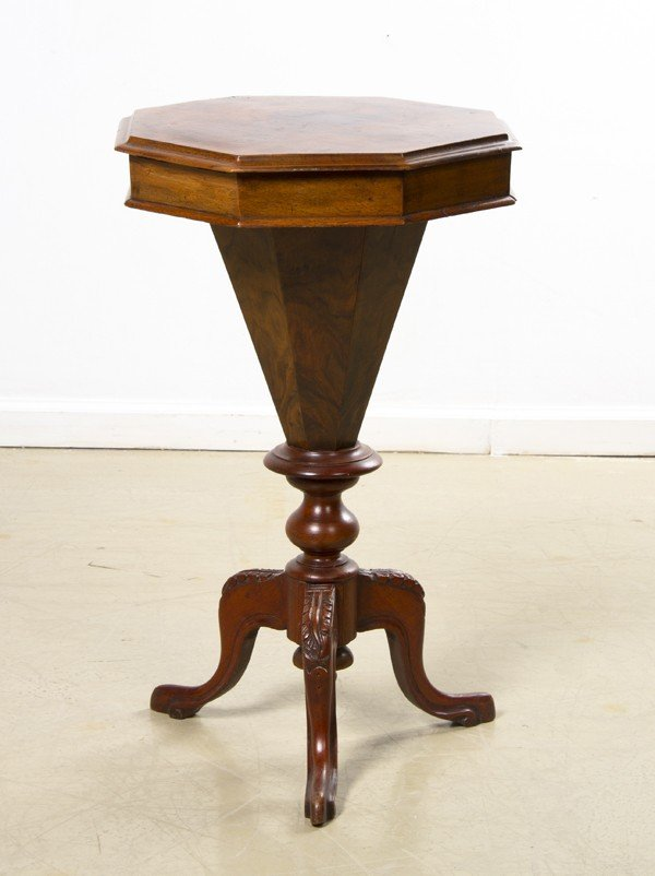 13: A Victorian Walnut Sewing Table, Height 28 1/2 x wi