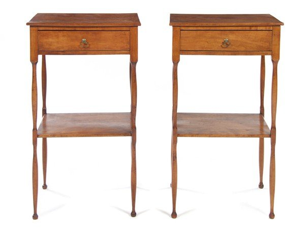 21: A Pair of Maple Side Tables, Height 28 x width 16 x