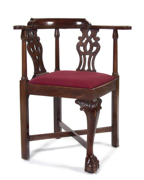 22: An American Mahogany Corner Chair, Baker, Height 32
