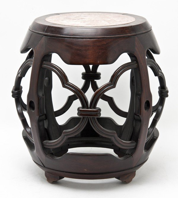 477: A Chinese Hardwood Stool with Marble Inset Top, He