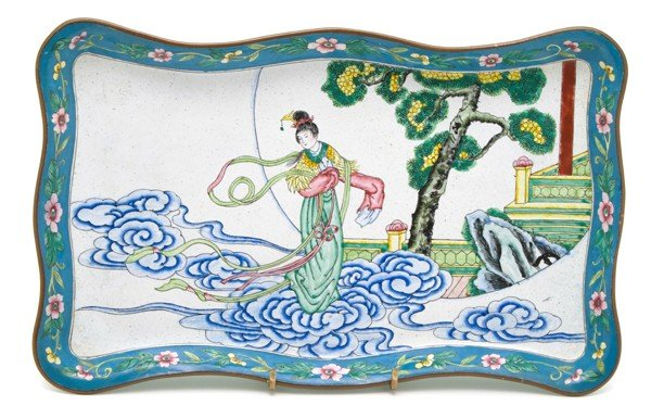 485: A Canton Enameled Tray, Width 12 inches.