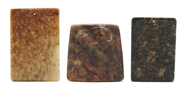 486: A Group of Three Chinese Hardstone Plaques, Length