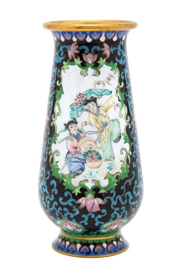 487: A Group of Two Chinese Cloisonne Vases, Height of