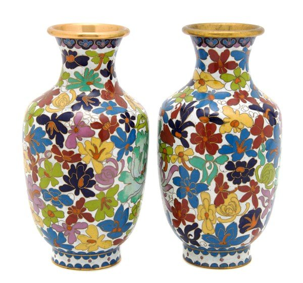 488: A Pair of Chinese Cloisonne Vases, Height 8 1/8 in