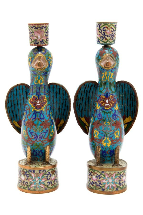 497: A Pair of Cloisonne Candlesticks, Height 10 1/2 in
