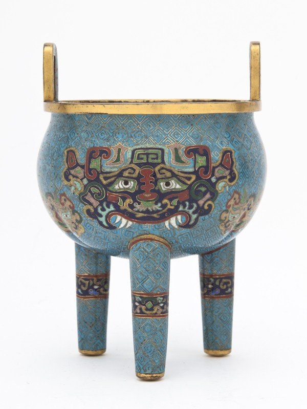 683: A Chinese Cloisonne Censer, Height 7 inches.