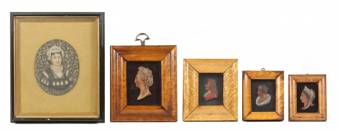 3: A Group of Five Wax Busts, Height of tallest bust 6