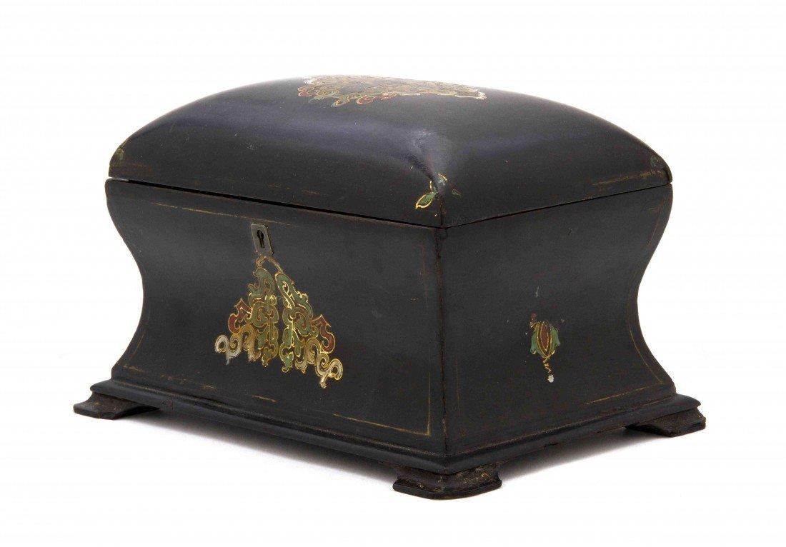 10: A English Papier Mache Tea Caddy, Jenns & Bettridge