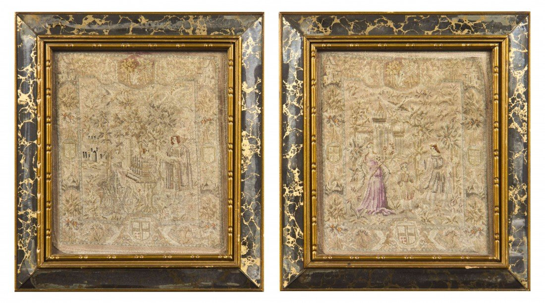 11: A Pair of Petit Point Panels, attributed to Gobelin