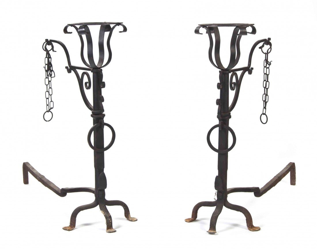 17: A Pair of Cast and Wrought Iron Andirons, Height 37