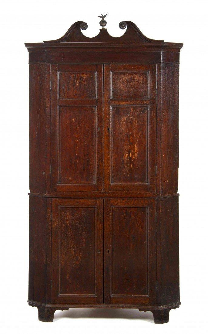 22: An English Oak Corner Cupboard, Height 86 1/2 x wid