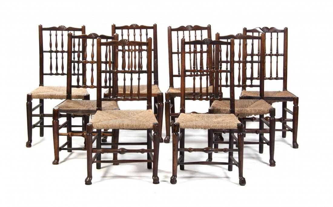 23: A Set of Eight English Oak Side Chairs, Height 35 1