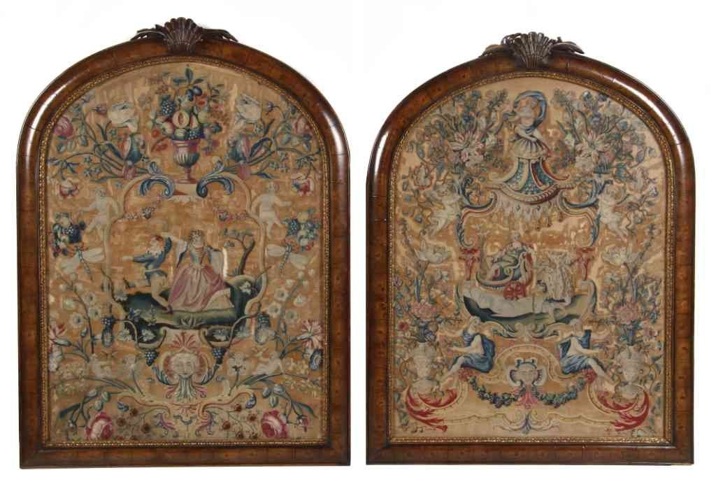 26: A Pair of George II Needlework Panels, Height overa