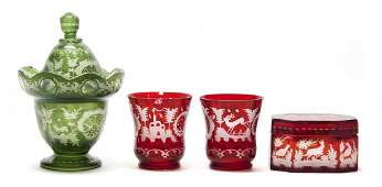 370: A Group of Four Bohemian Glass Articles, Height of