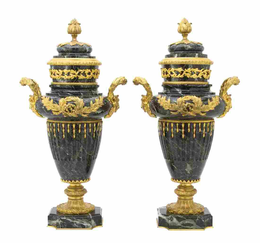 442: A Pair of Neoclassical Gilt Bronze Mounted Marble