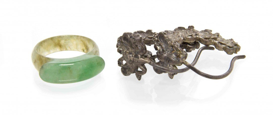532: A Chinese Jadeite Saddle Ring and Silver Earrings,