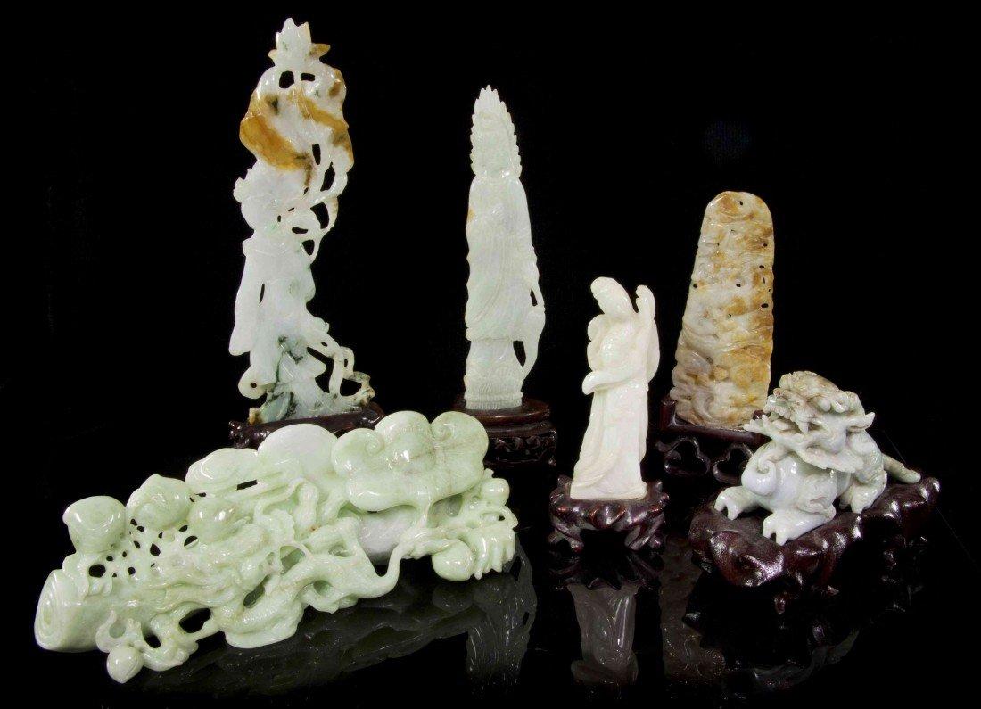 540: A Group of Six Jadeite Carvings, Length of longest