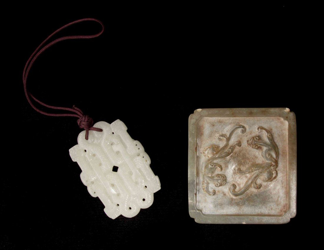 545: A Group of Two Jade and Hardstone Articles, Width