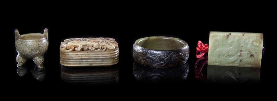 546: A Group of Four Archaistic Style Jade Articles, Wi