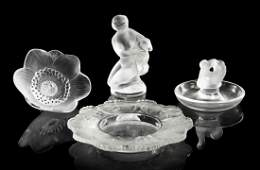 1113: Four Lalique Glass Articles, Height of tallest 4