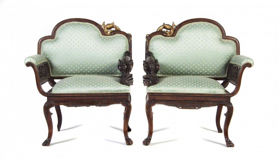 2002: A Pair of Victorian Carved Wood Armchairs, Height