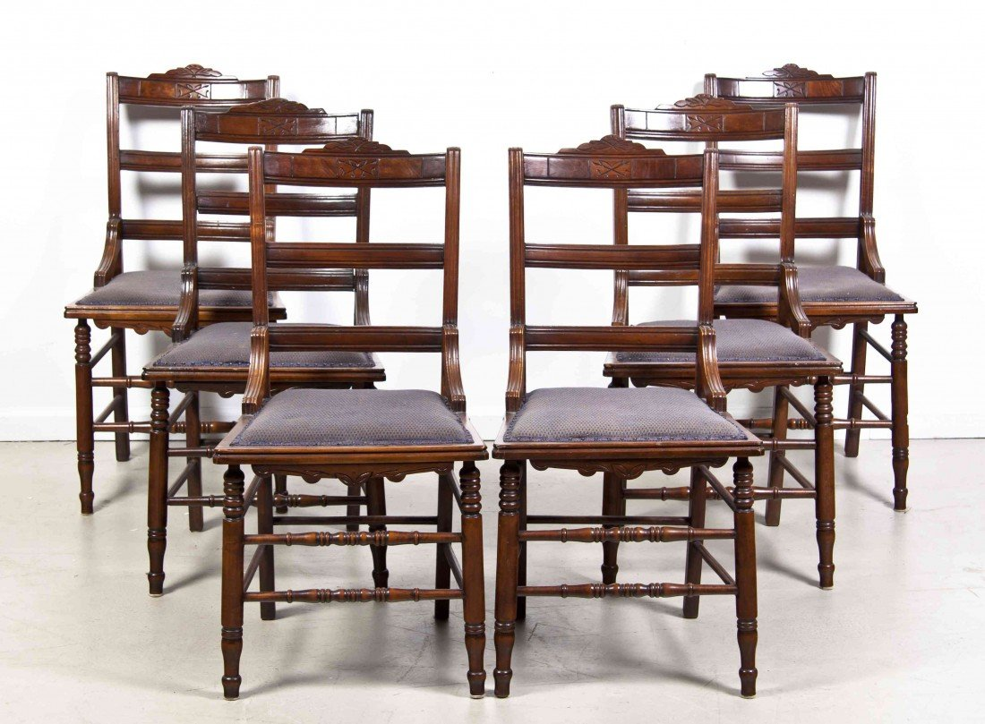 2016: A Set of Six Victorian Walnut Side Chairs, Height