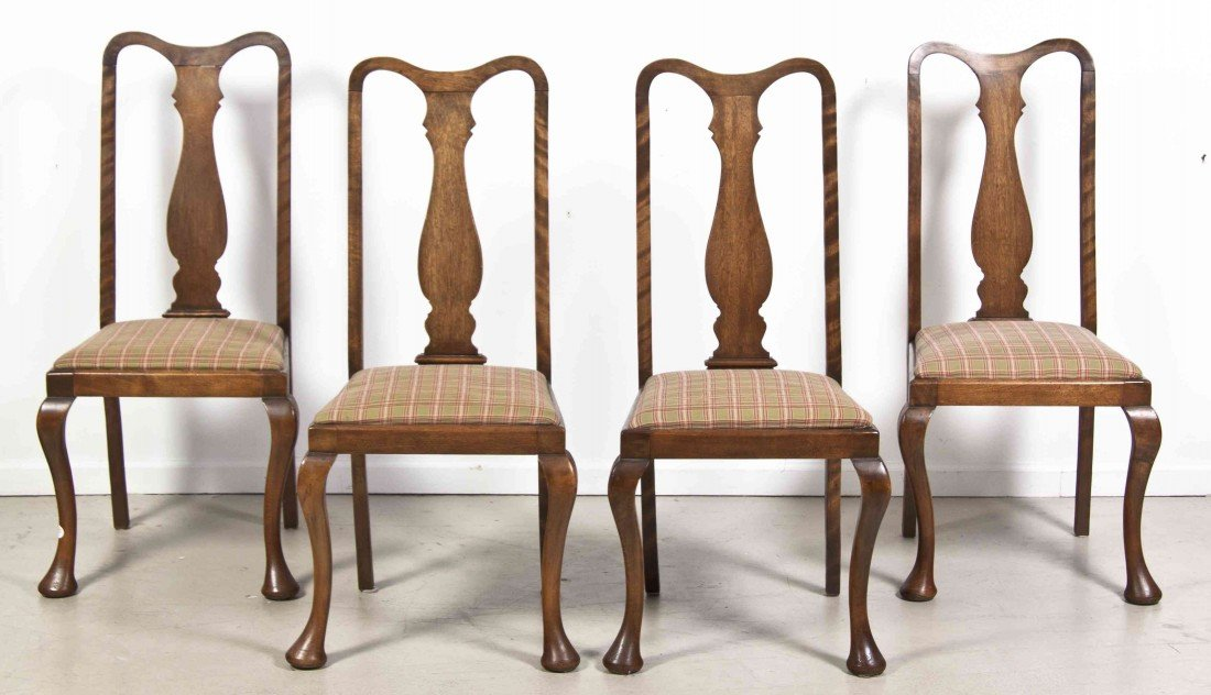 2019: A Set of Four Walnut Side Chairs, Height 41 1/8 i