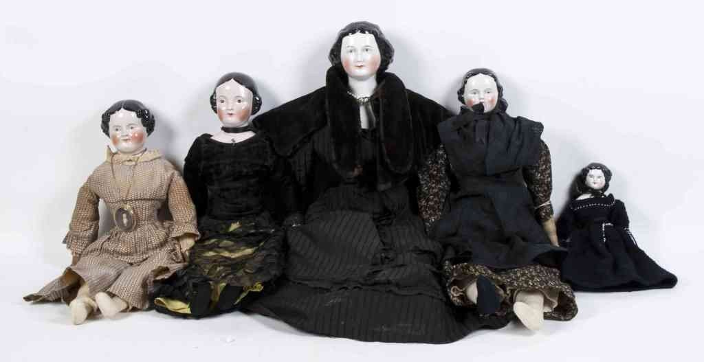 2165: A Collection of Five Mourning Attire China Head D