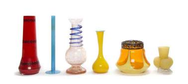 2384 A Collection of Six Victorian Glass Vases Height