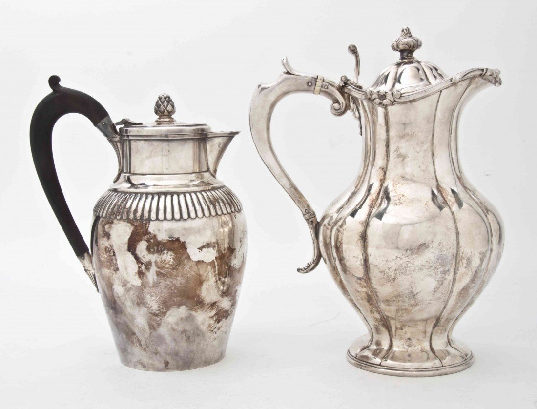2480: A Group of Two English Silverplate Water Pitchers