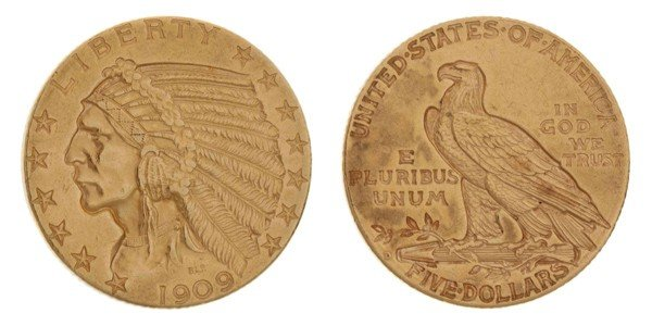 440: A 1909-D United States $5 Indian Gold Coin.
