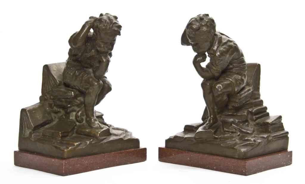3: A Pair of Figural Bookends, Simone, Height overall 8