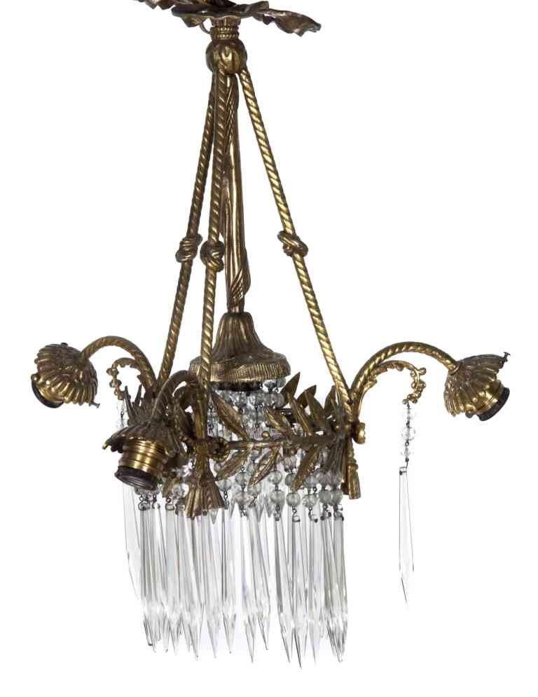7: A Victorian Gilt Metal Three-Light Fixture, Height 1